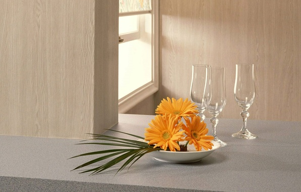 Picture glasses, window, date, bouquet of gerberas
