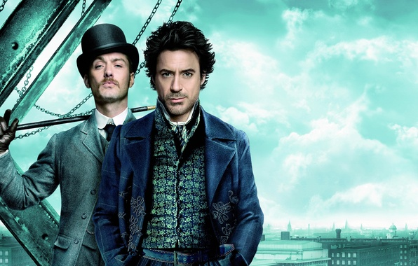 Picture London, hat, cane, Sherlock Holmes, Jude Law, Jude Law, Robert Downey Jr., Robert Downey Jr., …