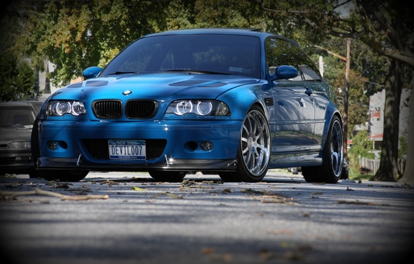Picture blue, street, bmw, BMW, coupe, blue, e46, daylight