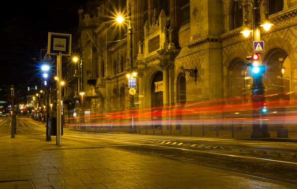Picture road, night, the city, lights, building, excerpt, lighting, lights, architecture, Hungary, Budapest, Budapest, Hungary