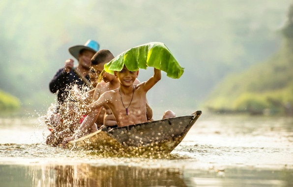 Picture children, sheet, river, boat, laughter, Vietnam, river, smile, high quality, boys, boys, boat, children, swimming, …
