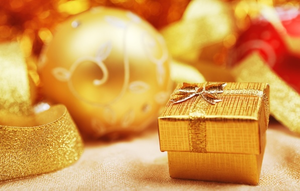 Picture winter, balls, holiday, box, gift, balls, New Year, Christmas, tape, Christmas, gold, New Year, box