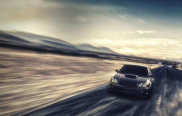 Picture speed, Subaru, Impreza, blur, black, WRX, black, front, Subaru, Impreza, STi