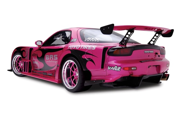 Picture mazda, BACKGROUND, WHITE, SPOILER, COLOR, VIEW, BACK, PINK, TUNING, DRIVES