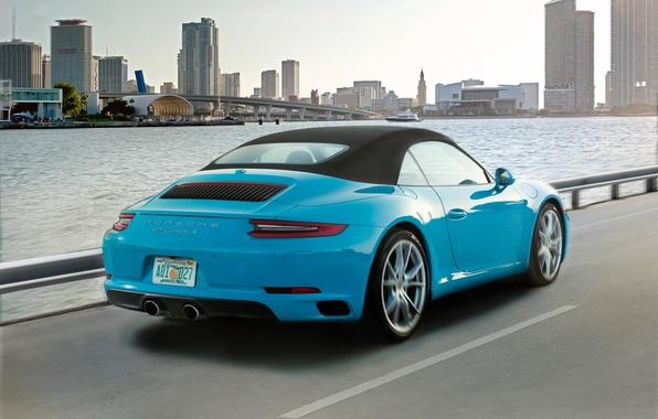 Picture road, car, auto, city, the city, 911, Porsche, Cabriolet, Carrera S