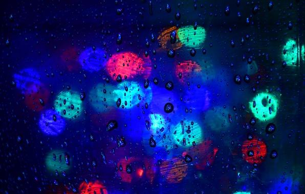 Picture glass, water, drops, light, color, Blik