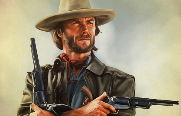 Picture art, Clint Eastwood, revolver, Josey Wales, The Outlaw