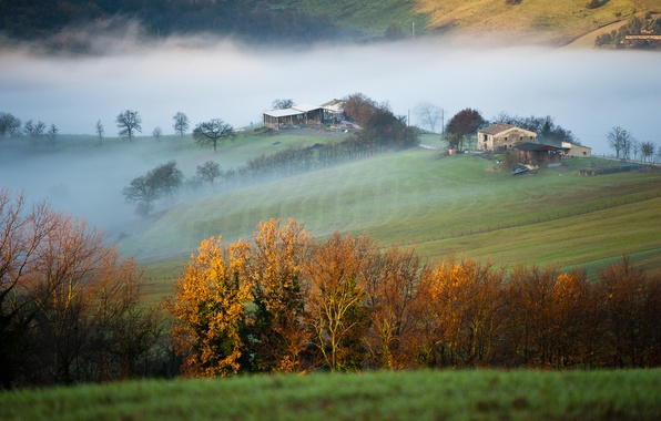 Picture field, trees, mountains, fog, house, morning, Italy, province of Macerata