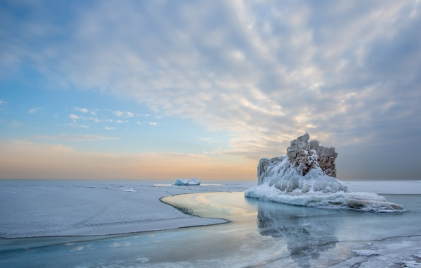 Picture cold, ice, winter, the sky, water, clouds, snow, landscape, lake, reflection, iceberg