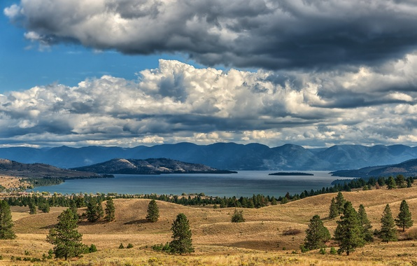 Picture autumn, the sky, grass, clouds, trees, mountains, lake, hills