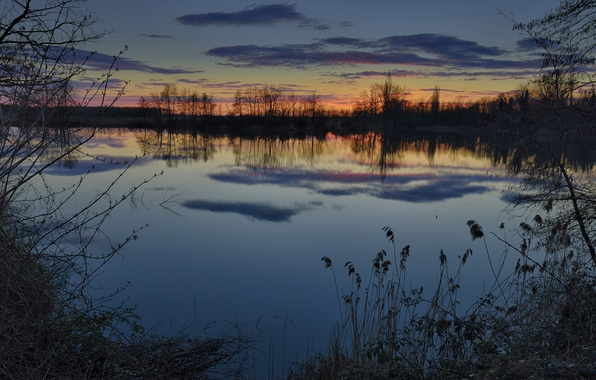 Picture winter, the sky, grass, water, clouds, trees, sunset, reflection, river, shore, The evening