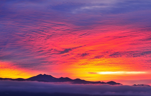 Picture the sky, clouds, mountains, fog, tops, glow