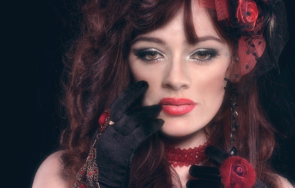 Picture look, decoration, face, hand, portrait, makeup, ring, glove