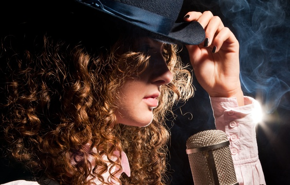 Picture girl, face, style, hair, smoke, hand, hat, profile, microphone, curls, sleeves