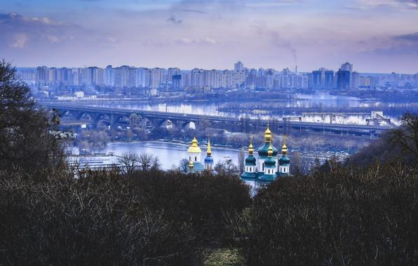 Picture winter, bridge, Garden, Ukraine, the monastery, dome, Kiev, Dnepr, Vydubychi, Botanical