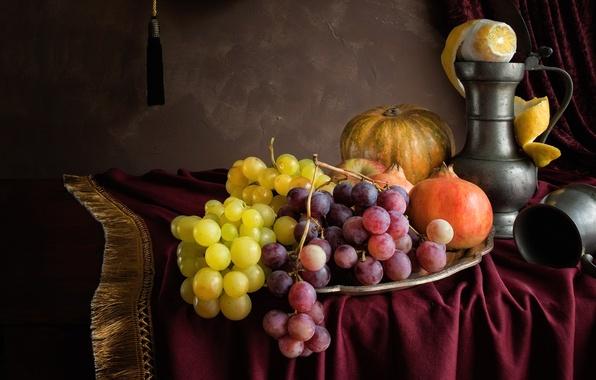 Picture lemon, grapes, pumpkin, pitcher, fruit, still life, garnet