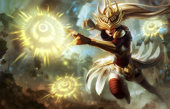 Picture girl, the city, magic, explosions, armor, feathers, League of Legends, LoL, Syndra