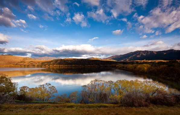 Picture autumn, the sky, grass, clouds, mountains, lake, day, the bushes