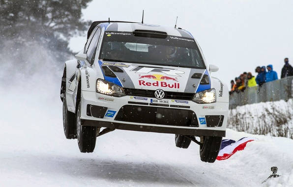 Picture Winter, White, Snow, Sport, Volkswagen, Machine, People, Lights, Red Bull, WRC, Rally, Rally, Polo, Sebastien …