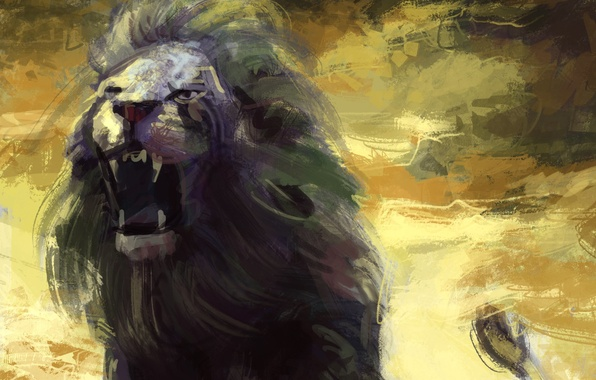 Picture Leo, art, mouth, mane, painting