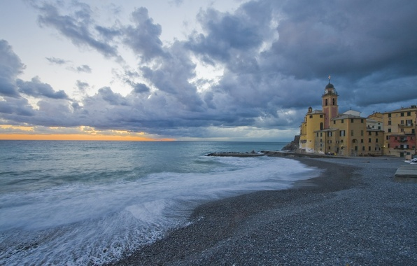 Picture sea, coast, Italy, Church, Italy, Camogli, Liguria, Liguria, Camogli