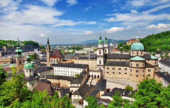 Picture greens, clouds, trees, the city, building, home, Austria, Cathedral, architecture, Salzburg, Salzburg, Austria