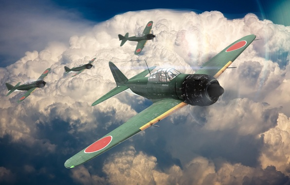 wallpaper war a6m5 zero the plane fighter the sky