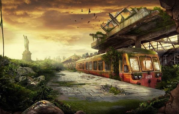 Picture train, destruction, station, 156
