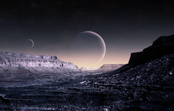 Picture the sky, planet, art, Blue Moon, gas, WP Version