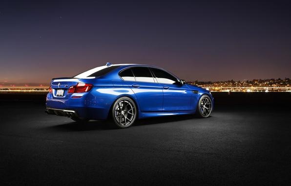 Picture the sky, stars, night, blue, BMW, BMW, f10, monte carlo blue