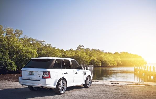 Picture white, the sun, sport, pier, white, Land Rover, Range Rover, river, Blik, Sport, range Rover, …