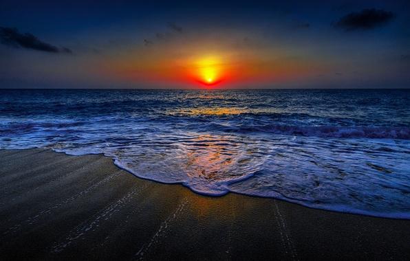 Picture sea, wave, beach, the sky, clouds, landscape