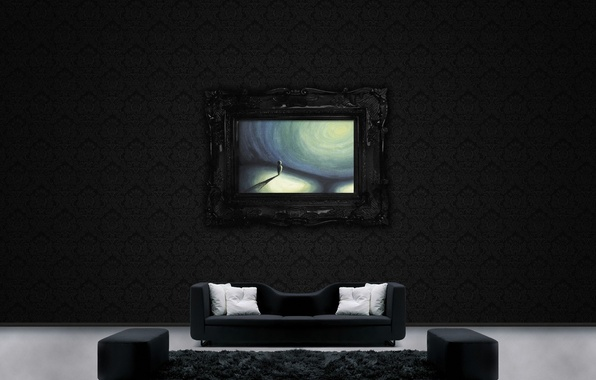 Picture sofa, wall, pattern, figure, picture, pillow