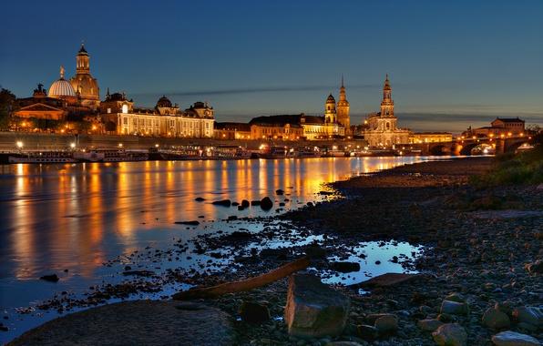 Picture night, bridge, the city, lights, river, stones, shore, building, home, boats, Germany, Dresden, Elba, Dresden, …