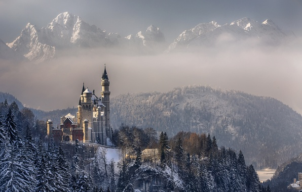 Picture winter, the sky, clouds, snow, trees, mountains, Germany, Bayern, Neuschwanstein castle