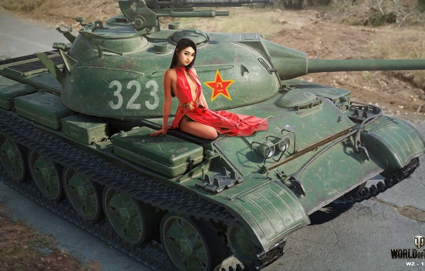 Picture road, girl, figure, easy, dress, art, tank, Asian, in red, Chinese, World of Tanks, Nikita ...