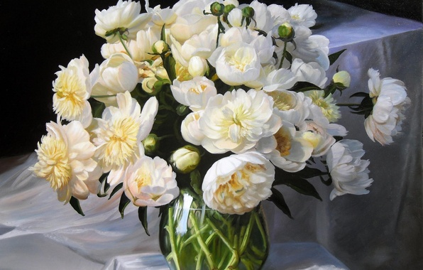 Picture flowers, bouquet, picture, fabric, vase, white, still life, buds, peonies, Zbigniew Kopania