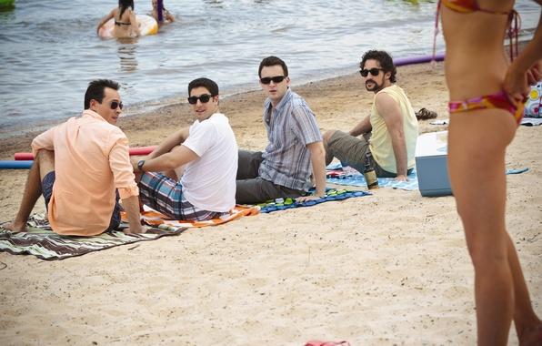 Picture beach, girl, Steve Stifler, Jason Biggs, American pie, Jason Biggs, Seann William Scott, Eddie Kaye …
