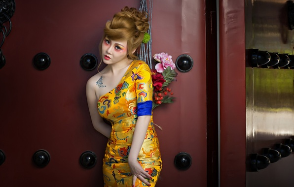 Picture flowers, style, model, makeup, dress, tattoo, Asian, hairstyle