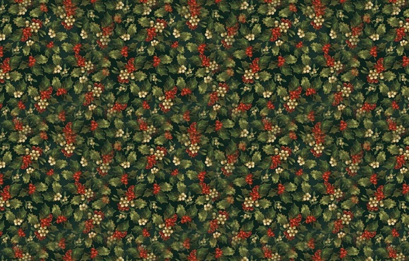 Picture background, New year, leaves, berries, poinsettia