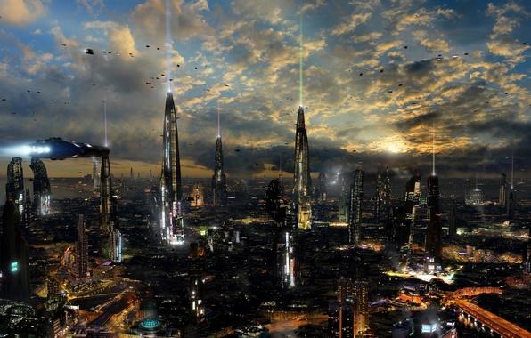 Wallpaper Machine The City Lights Fiction Building Ships Flight Sci Fi Angel Alonso Angelitoon Megacity Images For Desktop Section Fantastika Download