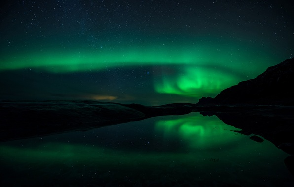 Picture the sky, water, stars, reflection, mountains, night, Northern lights
