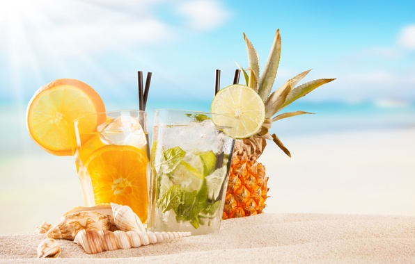 Photo wallpaper fruit, paradise, drink, beach, beach, cocktail, sea, sea, cocktail, fruit, summer, tropical, fresh