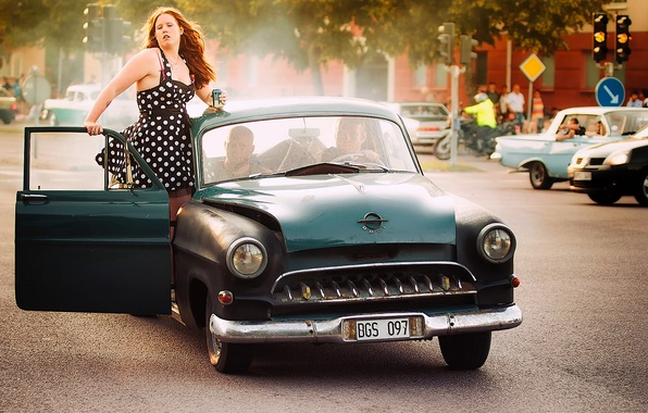 Picture retro, Opel, Sweden, classic, Sweden, Västerås, Vasteras, Kapitan, lass, 1955 Opel Kapitan