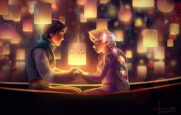Picture girl, flowers, night, art, Rapunzel, guy, two, lanterns, Rapunzel, Flynn Rider, kelogsloops