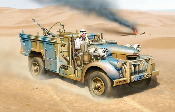 Picture art, company, special forces, British, SAS, WW2., the beginning, North Africa, North African, Commander's Car, …