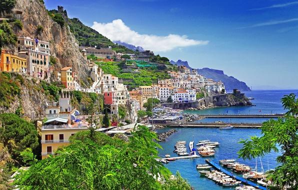 Picture sea, the sky, mountains, rocks, home, Bay, yachts, boats, Italy, Bay, Salerno, Positano, Positano