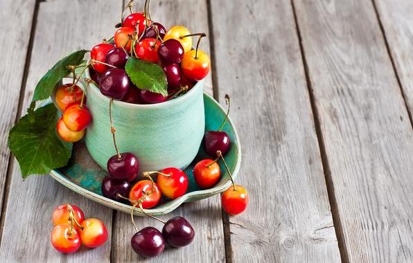 Picture cherry, glass, Board, berry, cherry, cherry, berries