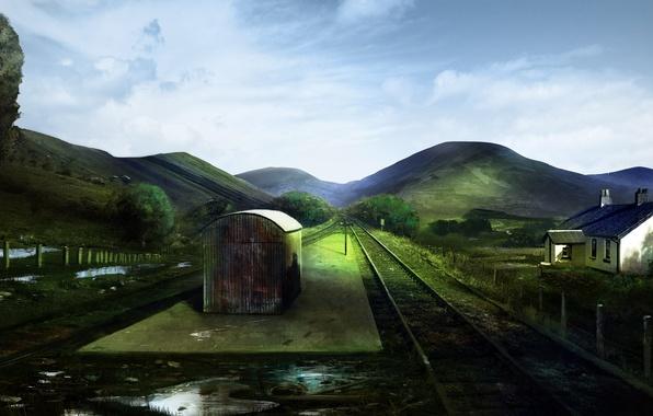 Picture landscape, hills, the fence, rails, station, art, railroad, puddles, buildings