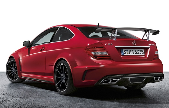 Picture red, supercar, spoiler, mercedes-benz, Mercedes, rear view, coupe, amg, wing, AMG, ц63, black series, black …